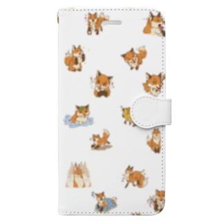 きつねがいっぱい Book-style smartphone case