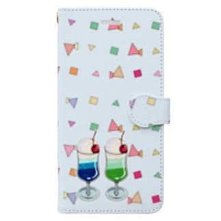 ツインソーダ(水色) Book-style smartphone case