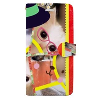 ニャンコ一杯賑(にぎ)やかし Book-style smartphone case