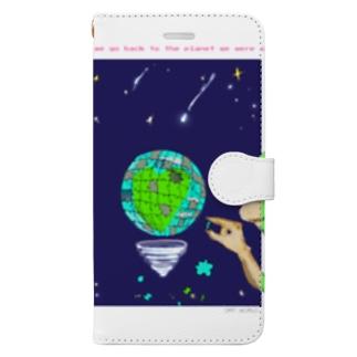 背中 Curiosity and love Book-style smartphone case