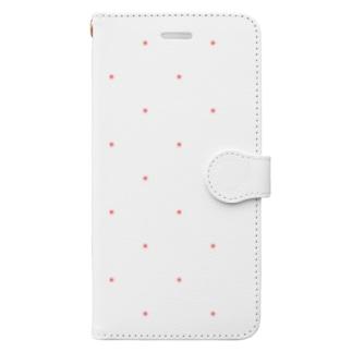 colom-dotのCOLOM.水玉.ピンク小ドット.バックシンプルロゴ.スマホケース#001 Book-style smartphone case