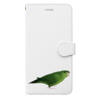 サザナミインコ グリーン【まめるりはことり】 Book-style smartphone case