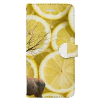 okusennの鹿と レモン Book-style smartphone case