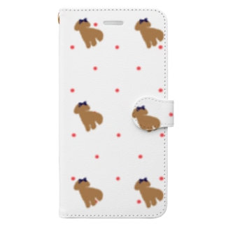 【COLOM.コロ。】トイプードルドットピンク.リボン.グッズ!! Book-style smartphone case