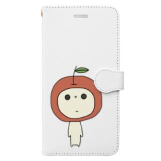 見つめてくるりんご Book-style smartphone case