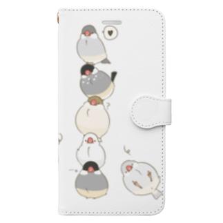 おもち文鳥たわー Book-style smartphone case