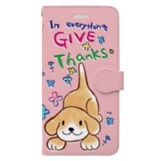 thanksピンクワンコ Book-style smartphone case