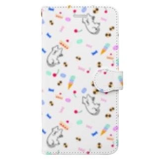 すいーーつねこ 背景色なし Book-style smartphone case
