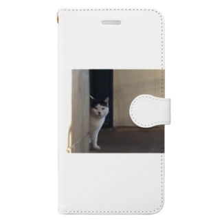 顔が半分だけ見えるまえちゃん【ねこシリーズ】 Book-style smartphone case