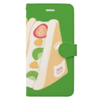 フルーツサンド[緑] Book-style smartphone case