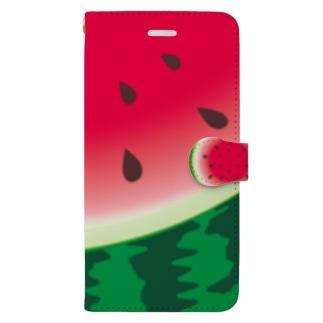 *suzuriDeMONYAAT*のスイカ柄10*手帳型ケース Book-style smartphone case