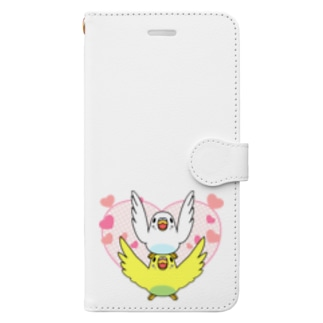 ラブリーセキセイインコ【まめるりはことり】 Book-style smartphone case