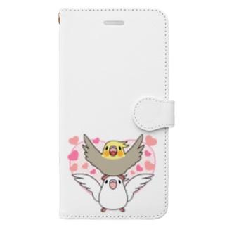 ラブリーオカメインコ【まめるりはことり】 Book-style smartphone case