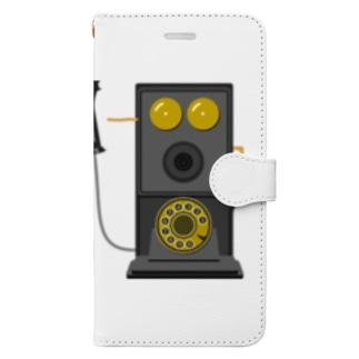レトロな片耳受話器の片耳受話器の壁掛け電話(デルビル磁石式電話機)のイラスト  黒 受話器外しver Book-style smartphone case