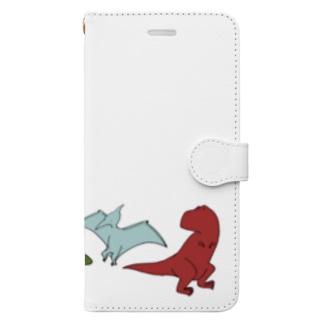 ゆるい恐竜たち Book-style smartphone case