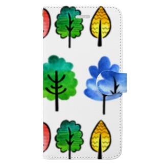 北欧風水彩の木 Book-style smartphone case