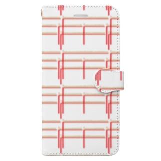赤鉛筆ボーダー Book-style smartphone case