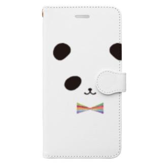 カラフル蝶ネクタイ パンダ Book-style smartphone case
