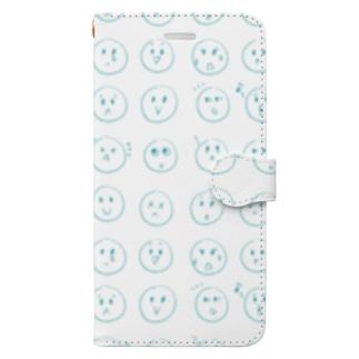 いろんなカオ ブルー Book-style smartphone case