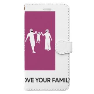 家族の時間(THE FAMILY TIME) ピンク Book-style smartphone case