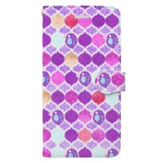 ミジンコ×モロッカン_紫 Book-style smartphone case