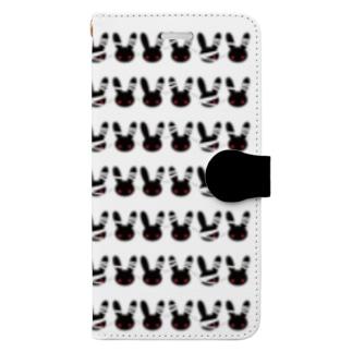 包帯うさぎうじゃうじゃスマホケース Book-style smartphone case