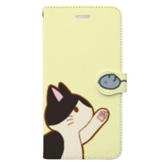 ネズミさんにゃー 白黒 Book-style smartphone case