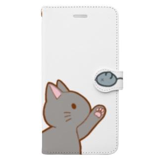 ネズミさんにゃー グレー Book-style smartphone case