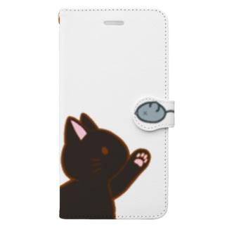 ネズミさんにゃー 黒 Book-style smartphone case