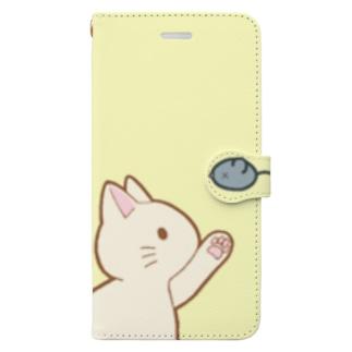 ネズミさんにゃー 白 Book-style smartphone case