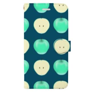 爽やか青リンゴ柄 Book-style smartphone case