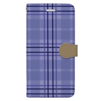 チェック×無地 切り返し(ラベンダーブルー/キャメル) Book-style smartphone case
