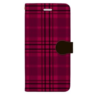 TinyMiry(タイニーミリー)のチェック×無地 切り返し(ストロベリーレッド/ダークショコラブラウン) Book-style smartphone case