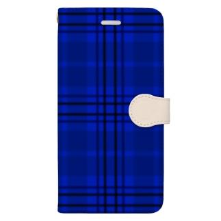 チェック×無地 切り返し(サファイアブルー/ミルクティー) Book-style smartphone case