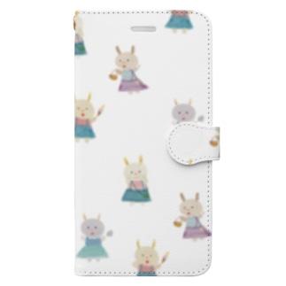 サスペンダースカートのうさぎさん Book-style smartphone case