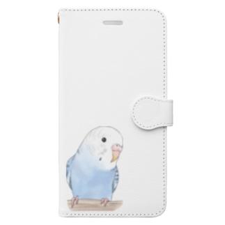 まめるりはことりのおしゃまな止まり木セキセイインコちゃん【まめるりはことり】 Book-style smartphone case
