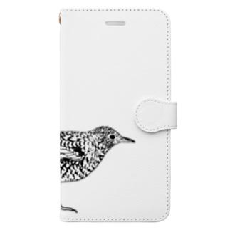 トラツグミのトラさん(白黒) Book-style smartphone case