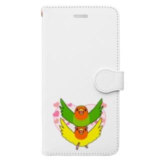 ラブリーコザクラインコ【まめるりはことり】 Book-style smartphone case