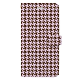 千鳥格子(テーマ:ストロベリーチョコレート) Book-style smartphone case