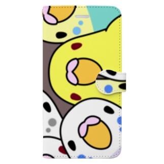 みっちりむっちり過密セキセイインコさん【まめるりはことり】 Book-style smartphone case