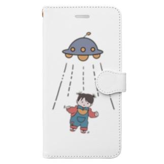 UFOと女の子(色付) Book-style smartphone case