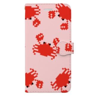 ドット絵のカニ Book-style smartphone case