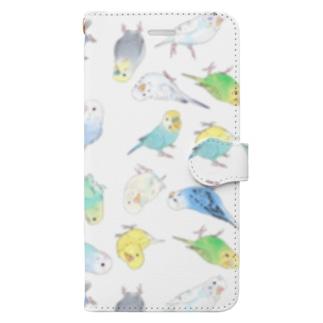 めっちゃセキセイインコちゃん【まめるりはことり】 Book-style smartphone case