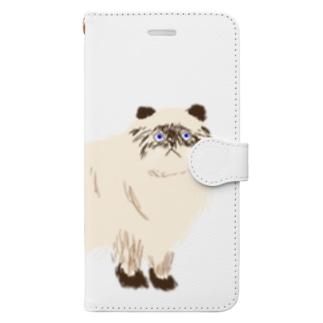 タヌキじゃ無いよ。ネコです。 Book-style smartphone case