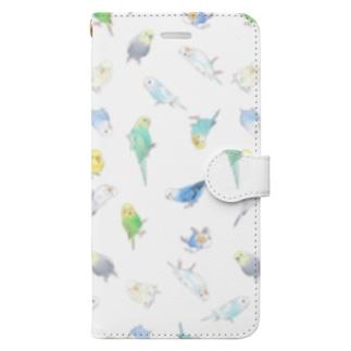 いっぱいセキセイインコちゃん【まめるりはことり】 Book-style smartphone case