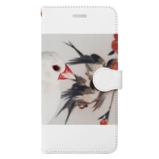 文鳥ハルちゃんの浮世絵鑑賞 Book-style smartphone case