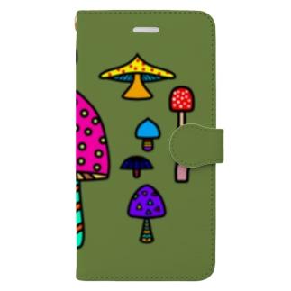 ときのこiPhoneケース(手帳型) Book-style smartphone case