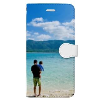 島の景色、川平湾 Book-style smartphone case