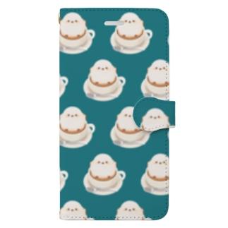 シマエナガのラテ[青] Book-style smartphone case