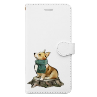 マフラー犬 コーギー Book-style smartphone case